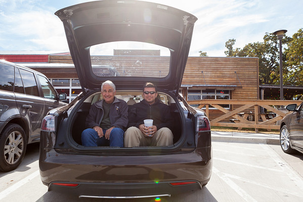 November 14  Jonathan and Gary didn't QUITE fit in the back of the loaner car, which has kid seats in the back. We had to test it out after lunch at Rudy's.  This afternoon we shot a hyperlapse of the Zero Energy Lab over at Disco Park. I think it'll be pretty nice!  After work I got my car back from Tesla. There were a bunch of dudes there from other centers. A new SuperCharger is opening next week so they've got extra people in town. A few guys were in from the Denver store, and guess what--they totally remembered me! Last time I was in Denver with Andy I drug him to the store after shooting, and we spent over an hour there carrying my camera around the store.